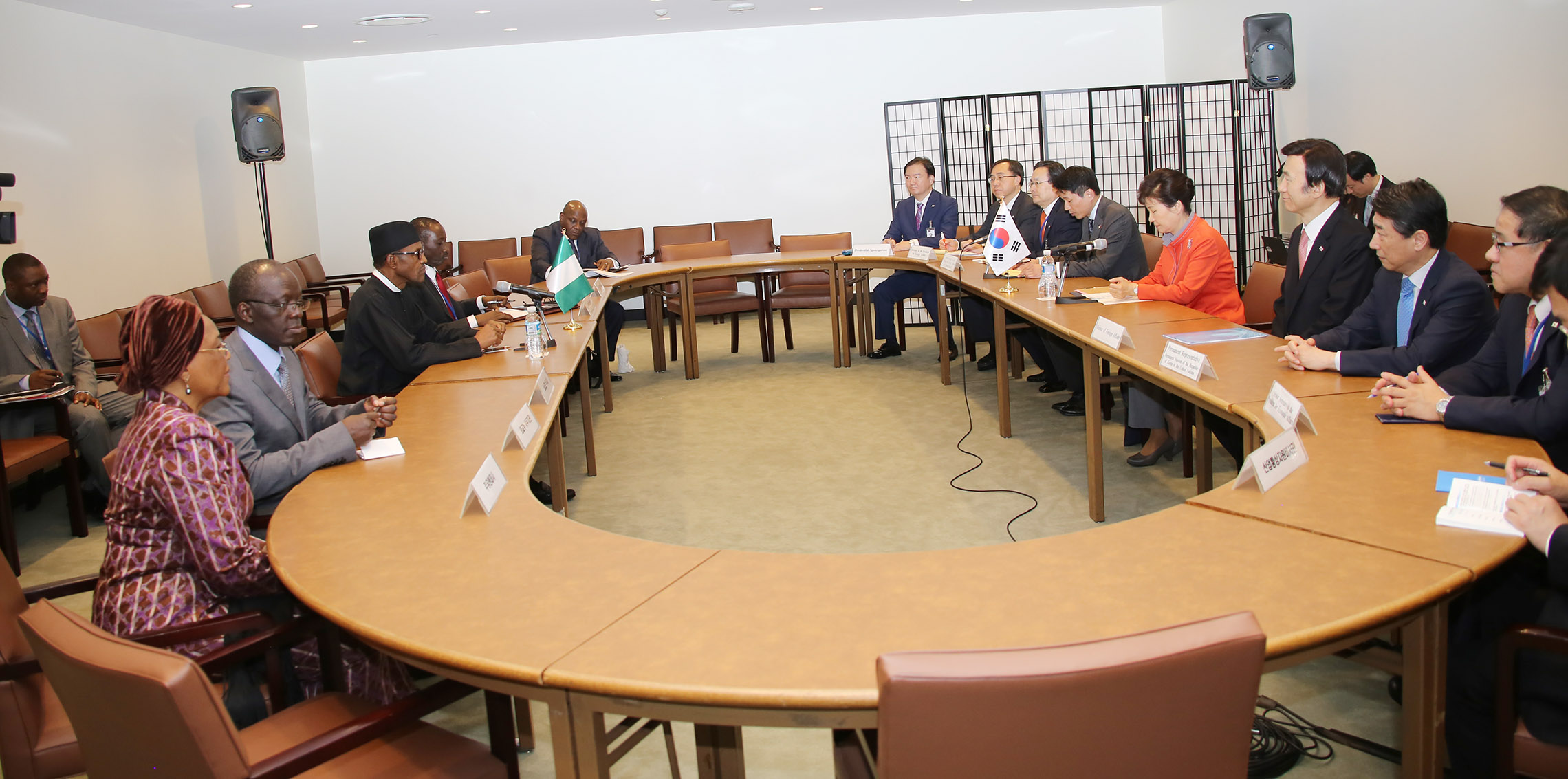 L-R; National Security Adviser, Major General Babagana Monguno, President Muhammadu Buhari, Sokoto State Governor, Rt Hon Aminu Tambuwal, President, Republic of Korea, Her Excellency, Mrs Geun-Hye Park, Nigerian Permanent Representatives, Prof Joy Ogwu and the Permanent Secretary Ministry of foreign Affairs, Ambassador Bulus Z. Lolo after a bilateral meeting during the 70th Session of the UN General Assembly in NEW YORK. . SEPT 27 2015