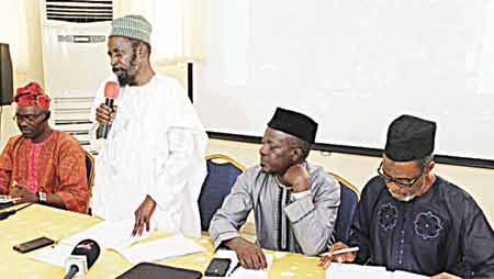 Publication and Publicity Secretary, Ahmadiyya Muslim Jama'at Nigeria, Alhaji Qasim Akinreti (left); Amir, Ahmadiyya Muslim Jama'at Nigeria, Alhaji Dr. Mashood Adenrele Fashola; Principal, Mahmood Ahmadiyya College, Abule-Eko Ijede, Lagos State, Alhaji I. T. A. Ogunmola; and Alhaji Lakunle Bello at the press conference to commemorate 21st Anniversary of the college in Ikeja… on Tuesday