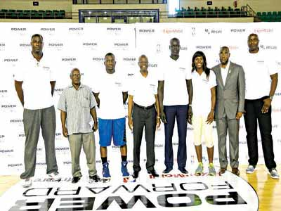 Former NBA Player and current captain of the national team, Olumide Oyedeji; Deputy Director, Co-Curricular of FCT Secondary Schools Board, Goroh Alhamdu; Senior Director of Programme, Operations and Youth Empowerment, Africare, Chenfa Dombin; Group Medical Director, ExxonMobil Affiliates in Nigeria, Dr. Mohammed Aliyu; NBA Vice President & Managing Director Africa, Amadou Gallo Fall; First Nigerian to play in the WNBA, Mactabene Amachree; NBBF board member, Mustapha Sulaiman; and NBA legend, Obinna Ekezie, during the final of the Power Forward in Abuja…yesterday.