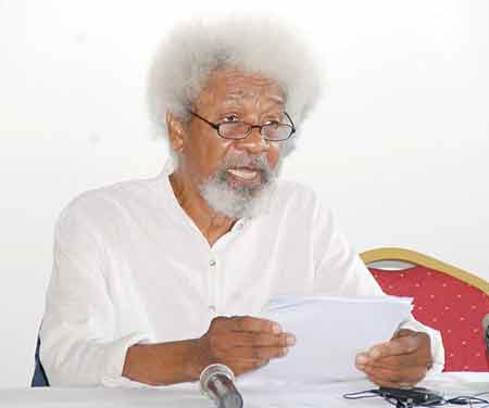 Soyinka at the briefing in Lagos … on Tuesday                                                    PHOTO: FEMI ADEBESIN-KUTI