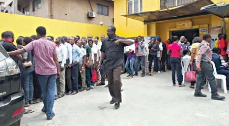 Queue at a registration centre in Lagos
