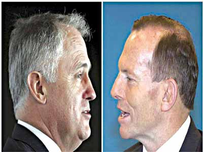 Malcolm Turnbull (left) is to be sworn in as Australia's new prime minister after defeating Tony Abbott 				                          PHOTO: [Reuters