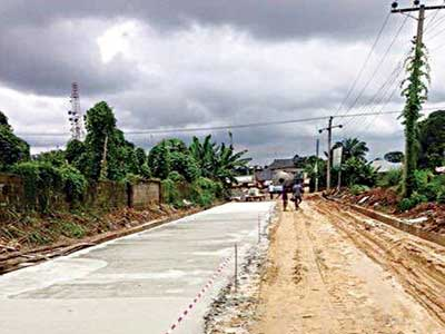 Road being constructed with Cement Technology at Aba, Abia State.