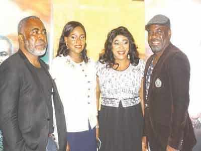 Nollywood star, Zack Orji (left); Managing Director, MicroMedia MarketingLtd., Mrs.Shileola Ibironke;Nollywood actress, AyoAdesanya and actor, FunshoAdeolu; at the MicroMedia media parley on its Drama series,''CASINO,'' in Lagos.