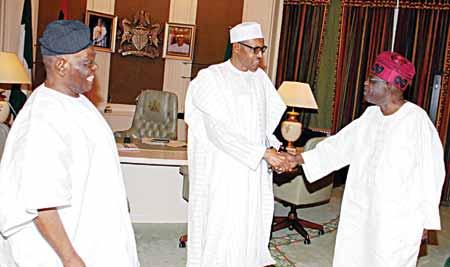 Former All Progressives Congress (APC) Chairman Chief Bisi Akande (left); President Muhammadu Buhari and the party leader, Bola Ahmed Tinubu at the State House, Abuja ...yesterday PHOTO: PHILIP OJISUA