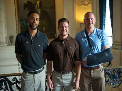 The three friends who helped subdue an armed gunman on a train in France are from left, Anthony Sadler, Aleksander Skarlatos and Airman 1st Class Spencer. PHOTO: stripes