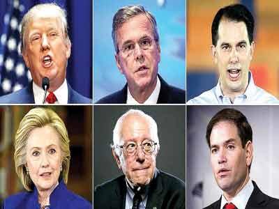 Clockwise from top left: Donald Trump, Jeb Bush, Scott Walker, Marco Rubio, Bernie Sanders and Hillary Clinton