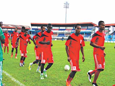 We are ready for Battle…Players of Abia Warriors seem to say as they host Enyimba today in Umuahia