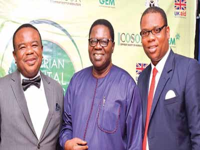 Chairman of COSON, Chief Tony Okoroji (left); veteran musician and juju exponent, Chief Ebenezer Obey and GM of COSON, Chinedu Chukwuji at the summit