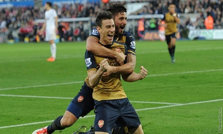Koscienly scores as Arsenal thrash Swansea