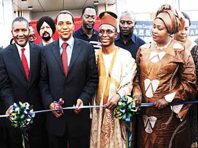 President, Dangote Industries Limited, Aliko Dangote (left); President, United Republic of Tanzania, Dr, Jakaya Mrisho Kikwete; Representative of Nigeria's President and Kaduna State Governor Mallam Nasir Ahmed El-Rufai and Regional Commissioner for Mtwara, Halima Dendego at the commissioning of a new 3.0 million MTPA, Dangote Cement plant and groundbreaking ceremony of the jetty at Mgao village, Mtwara, Tanzania at the weekend.