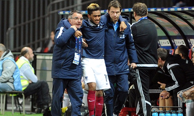 Jordan Amavi suffered a knee injury in France Under-21s' 1-0 win over Northern Ireland on Thursday. Photograph: Fred Tanneau/AFP/Getty Images.