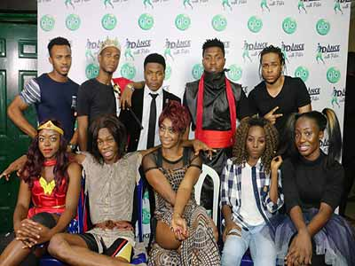 Dance with Peter contestants, front row, Amazing Amy (left), Octopus, G -xtreme, T-Robert and Teejay. Back row (Mali, Julius Fakta, C-Fly, Kelvin and Miracle.