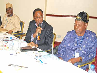 Past COREN President, Chief. E.B. Osoba (left); President, Association of Consulting Architects Nigeria, Omotayo Babalakin and ACEN President, Dr. Temilola Kehinde during the association's annual conference in Lagos, recently