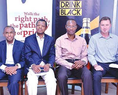 Managing Director/ Chief Executive Officer, Mr. Peter Ndegwa (left), Corporate Relations Director, Mr. Sesan Sobowale, Supply Chain Director, Mr. Cephas Afebuameh; and Marketing and Innovation Director, Mr. Gavin Pike, all of Guinness Nigeria during a media parley, held last Friday at the Ikeja brewery of Guinness Nigeria