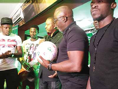 NFF President, Amaju Pinnick (second right), LMC Chairman, Shehu Dikko (third left), NPFL's highest goal scorer, Gbolahan Salami (left) and other players during the party organised by the LMC for players and stakeholders in Lagos…on Sunday.