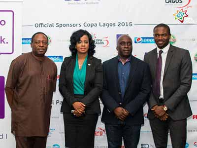 NFF's Technical Director, Coach Shuaibu Amodu (left), Head, Corporate Communications and CSR/Youth Engagement and Chairman, Lagos State Sports Commission, Hon Deji Tinubu and CEO, Kinetic Sports Management, Samson Adamu