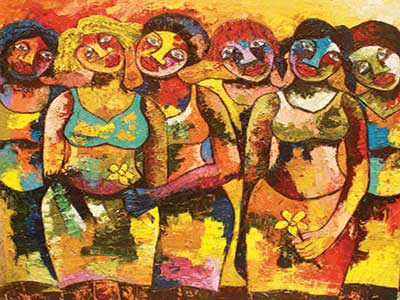 Sugar Girls at Olosi, oil on canvas. 122cm by 122cm by George Edozie