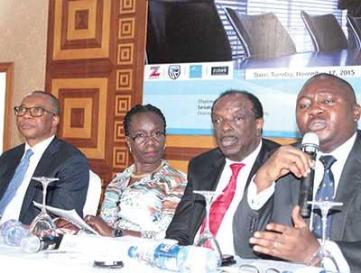 Deputy Governor, Central Bank of Nigeria (CBN), Adebayo Adelabu (right);President, Bank Directors Association of Nigeria (BDAN), Dr Sonny Kuku; Managing Partner, Udo Udoma & Belo-Osagie, Myma Belo Osagie, and Founder, Guaranty Trust Bank, Fola Adeola, at the stakeholders forum of BDAN in Lagos PHOTO: FEMI ADEBESIN-KUTI