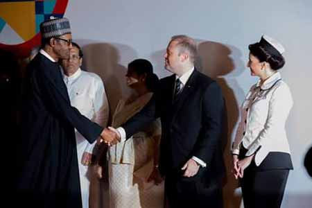 Pres. Buhari welcomed by PM Joseph Muscat of Malta earlier today at the opening of #CHOGM2015 in Malta
