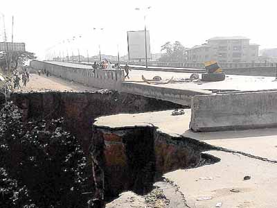The collapsed portion of the flyover