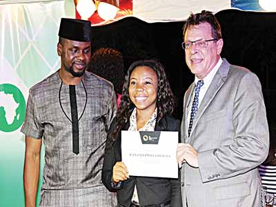 Adebola Williams (left), Cynthia Onwuchuruba, nominee for The Future Awards Africa Prize in Education and US Consul-General John Bray.