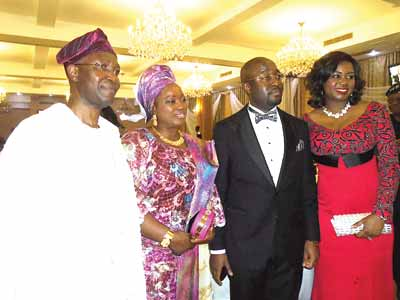 The former president of the Nigerian Bar Association and father of the celebrant, Chief Wole Olanipekun SAN; his wife, Omolara; the newly conferred SAN, Dr. Oladapo Olanipekun and his wife Winnifred at the dinner in honour of Oladapo in Lagos.                        PHOTO: JOSEPH ONYEKWERE