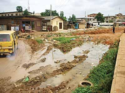 Abandoned Ejigbo-Idimu Road.                PHOTO: OSENI YUSUF