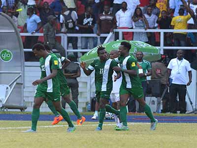 The Super Eagles celebrating Simon Moses' opening goal for Nigeria against Swaziland in Port Harcourt…on Tuesday.