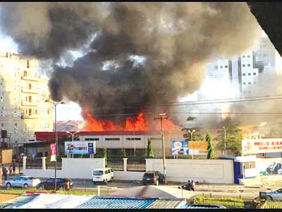 The Ebeano Supermarket, Lekki on fire... Tuesday.