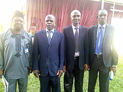 Deputy Director, Federal Department of Forestry, Mr. Michael Osakuade (left); Energy Commission of Nigeria (ECN), representative, Mr. Okon Ekpeyong; National Coordinator, UNDP-GEF Energy Efficiency Programme, Etiosa Uyigue and Head, Mitigation Unit, Climate Change Department, Delta State Ministry of Environment, Mr. Andrew Ojeblenu during the workshop in Kaduna, recently