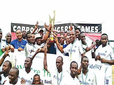 Fidelity Bank players and their supporters celebrating their victory after the final match of the 2015 Bankers Games…on Sunday.