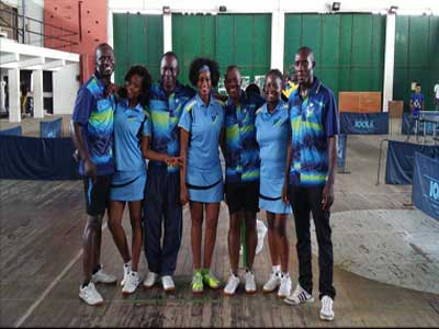 Fidelity Bank's Uche Okwuike (left), Judith Achonye, Fidelis Iluobe, Frances Duke-Mathews, Godwin Njuru, Olayemi Okam, and Coach Wale have qualified for the finals of the table tennis event of the ongoing Bankers' Games in Lagos.