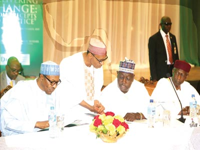 President Muhammadu Buhari (left); former Permanent Secretary, Dr. Hakeem Baba Ahmed; Secretary to the Government of the Federation, Babachir David Lawal and Chief of Staff to the President, Abba Kyari, during the two-day induction course for ministers-designate at State House Abuja …yesterday PHOTO: PHILIP OJISUA
