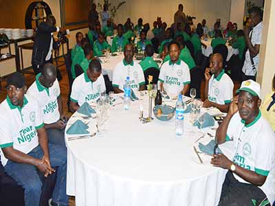The Golden Eaglets during the dinner with Sports Minister, Solomon Dalong, on arrival from the FIFA U-17 World Cup in Chile.