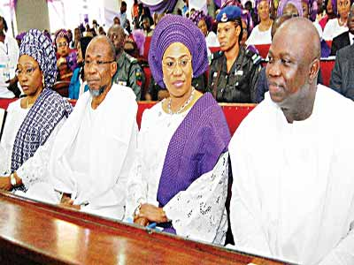 Wife of Minister of Solid Minerals, Erelu Bisi Fayemi (left); Governor, State of Osun, Ogbeni Rauf Aregbesola; his wife, Sherifat and Lagos State Governor Ambode Akinwumi at the event.