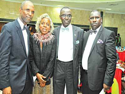 2015 Award Committee Chairman, Pastor Stephen Ola Jagun (left); immediate past president, Iyabo Aboaba; President, Mr Richard Okesola; and  Public Relations Officer, Mr Segun Adebayo of  International Facility Management Association (IFMA) Nigeria chapter during the Facility Management Award Dinner in Lagos, recently