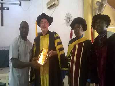 Ifeanyi Ibe receiving awards of Excellence from the Chancellor KLCUA Chancellor, Bruce David McCabe, Oyo Campus Director, Prof. Solomon Aguzue, and Africa Director, Prof. Godwin Osung during the 2014/2015 convocation ceremony of the school in Lagos…recently