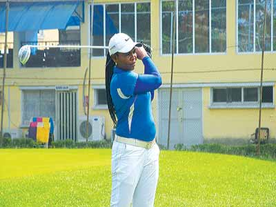 Newly crowned champion of Ikoyi Ladies Open Golf Tournament, Seaman Chinyere Joy Frank, during the tourney at the golf section of Ikoyi Club 1938