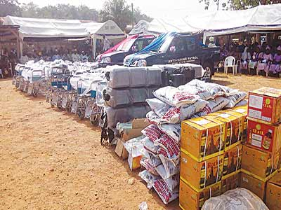 Some of the items donated by the lawmaker to his constituency.