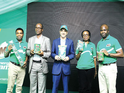 Manager, Corporate Affairs, Nestle Nigeria Plc, Dr. Sam Adenekan (left); Vice President, Nutrition Society of Nigeria, Dr. Batholomew Brai; Managing Director and Chief Executive Officer, Nestle Nigeria Plc, Dharnesh Gordhon; Director, Marketing Services, Mrs. Iquo Ukoh and Category Manager, Beverages, Mr. Femi Akintola at the Milo With Activ-Go Relaunch in Lagos. PHOTO: PAUL ADUNWOKE