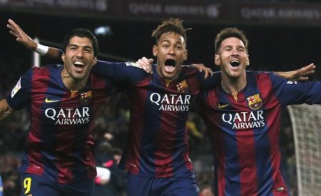 Barcelona's Luis Suarez, Neymar and Lionel Messi celebrate a goal PHOTO: REUTERS/Albert Gea (