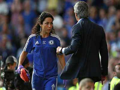 Jose Mourinho confronts former team doctor, Eva Carneiro, after the incident at Stamford Bridge.