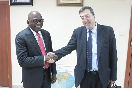 L -R: Mr Roberts Orya, MD/CEO Nigerian Export-Import Bank (NEXIM) and Dr. Francisco Igualada, Senior Mining Specialist, Energy & Extractives Unit, World Bank at the NEXIM Bank Headquarters, Abuja, November 10, 2015