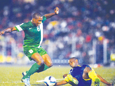 Ighalo trying to beat an opponent in Friday's World Cup qualifier between Nigeria and Swaziland, which ended 0-0. The return leg holds on Tuesday in Port Harcourt