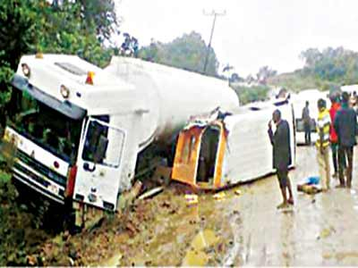 Scene of an accident on Odukpani-Itu Road.