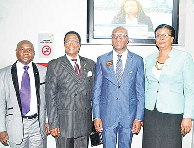 Registrar/Chief Executive Officer (CEO), Institute of Portfolio Management of Nigeria, Dr. Chucks Akawo (left); President/Chairman, IPMN, Dr. Isaac Olusola Dada; CEO, the Nigerian Stock Exchange Oscar Onyema; and 2nd Vice President, IPMN, Ms Bose Adebayo, during the courtesy visit and closing gong ceremony at the NSE, in Lagos.