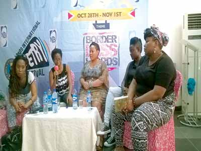 South Africa's Natalia Molebashi (left); Jumoke Verissimo; South Africa's Lebo Mashile; Botswana's T.J Dema and moderator, Wana Udobang during the panel discussion on 'Shifting Tides: Women in Society and Poetry' at Freedom Park at the maiden edition of Lagos International Poetry Festival 2015; it had 'Border Less Words' as theme PHOTOS: ANOTE AJELUORO