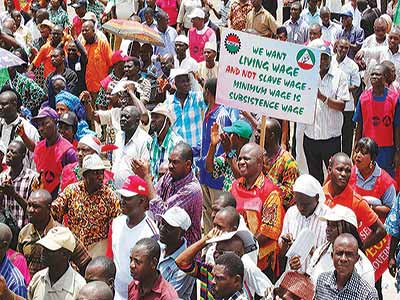 Cross section of Nigerian Workers agitating for the increase in minimum wage in Abuja in 2010
