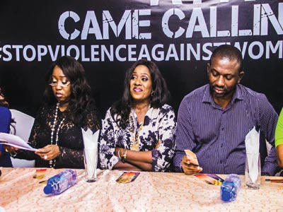 Mrs Gbemi Shasore, CEO Mainevents & Campaigns Limited and Executive Producer 'A Past Came Calling' (left), award-winning actress Joke Silva and Mr Solomon Mac- Auley, Director of the play, at a press conference to announce the upcoming play